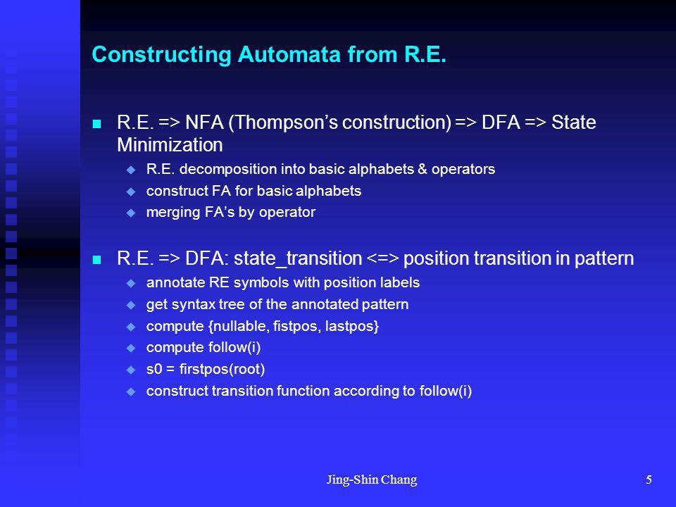 Jing-Shin Chang5 Constructing Automata from R.E. R.E. => NFA (Thompsons construction) => DFA => State Minimization R.E. decomposition into basic alpha