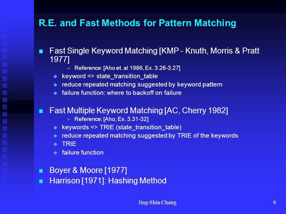 Jing-Shin Chang9 R.E. and Fast Methods for Pattern Matching Fast Single Keyword Matching [KMP - Knuth, Morris & Pratt 1977] Reference: [Aho et. al 198
