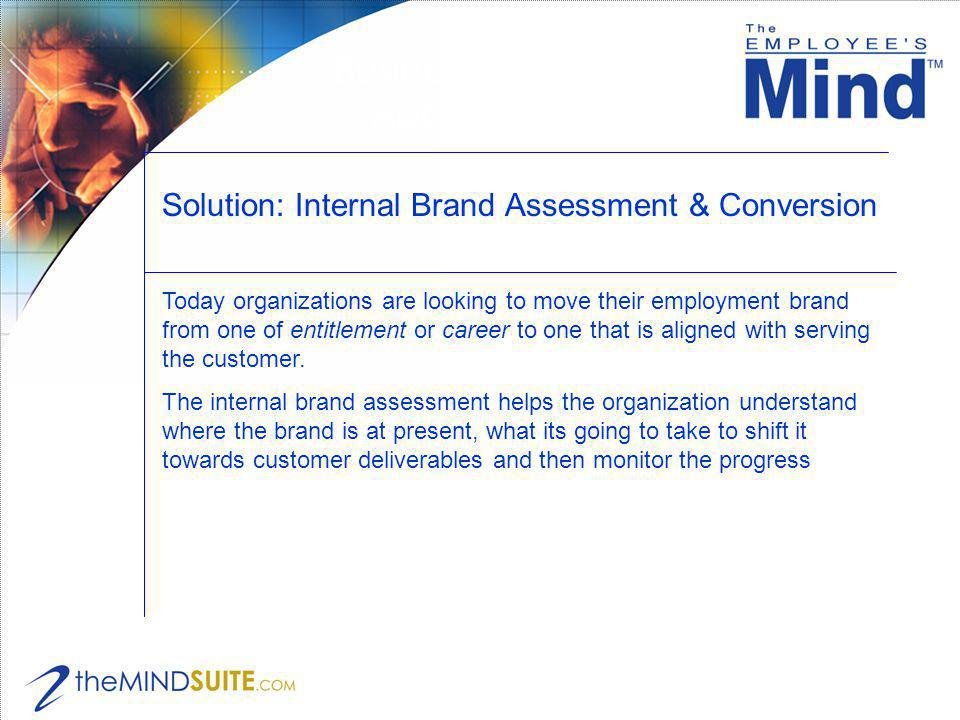 Solution: Internal Brand Assessment & Conversion Business Applications Today organizations are looking to move their employment brand from one of entitlement or career to one that is aligned with serving the customer.