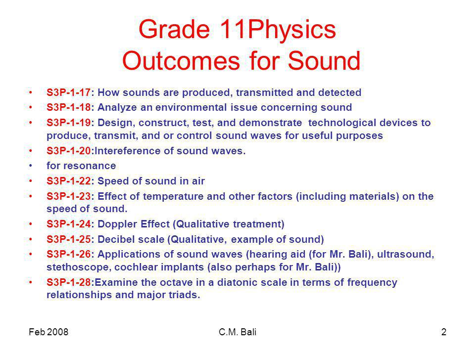 Feb 2008C.M. Bali2 Grade 11Physics Outcomes for Sound S3P-1-17: How sounds are produced, transmitted and detected S3P-1-18: Analyze an environmental i