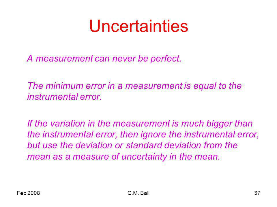 Feb 2008C.M. Bali37 Uncertainties A measurement can never be perfect.