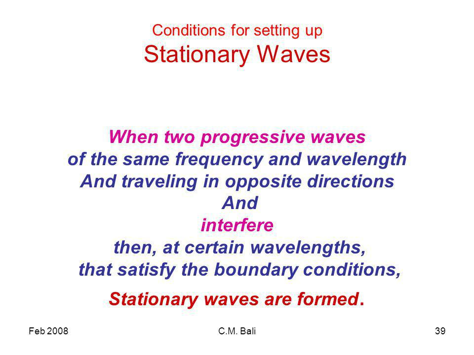 Feb 2008C.M. Bali39 Conditions for setting up Stationary Waves When two progressive waves of the same frequency and wavelength And traveling in opposi