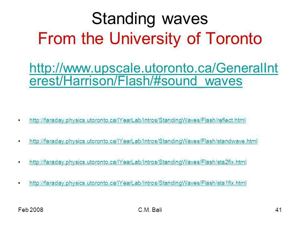 Feb 2008C.M. Bali41 Standing waves From the University of Toronto http://www.upscale.utoronto.ca/GeneralInt erest/Harrison/Flash/#sound_waves http://f