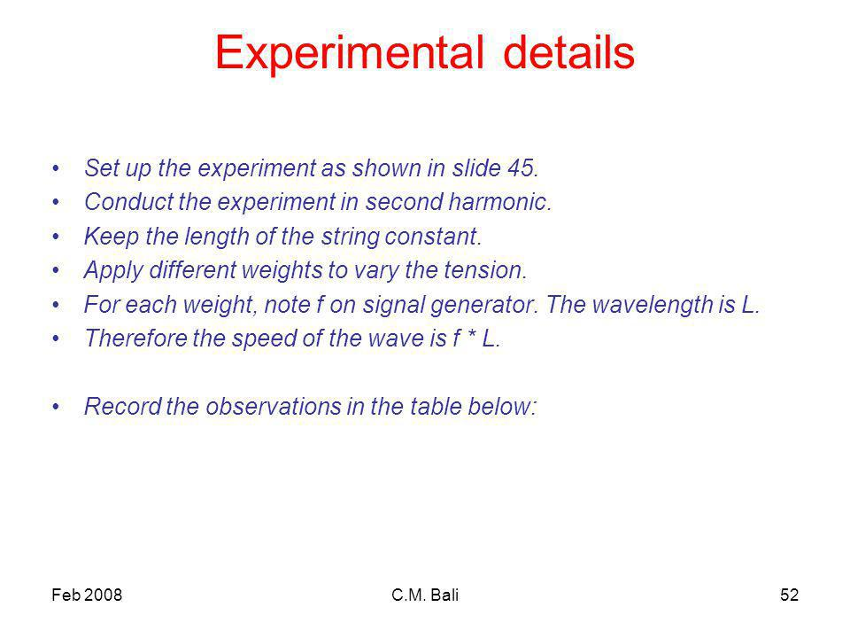 Feb 2008C.M. Bali52 Experimental details Set up the experiment as shown in slide 45.