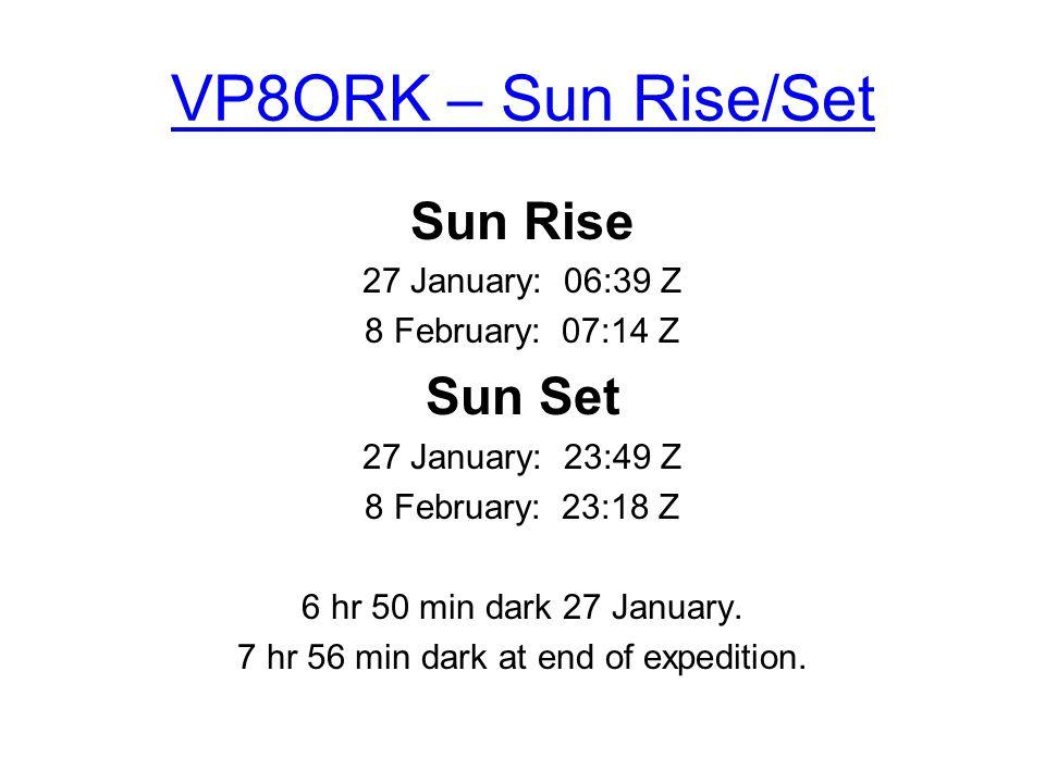 VP8ORK – Sun Rise/Set Sun Rise 27 January: 06:39 Z 8 February: 07:14 Z Sun Set 27 January: 23:49 Z 8 February: 23:18 Z 6 hr 50 min dark 27 January. 7