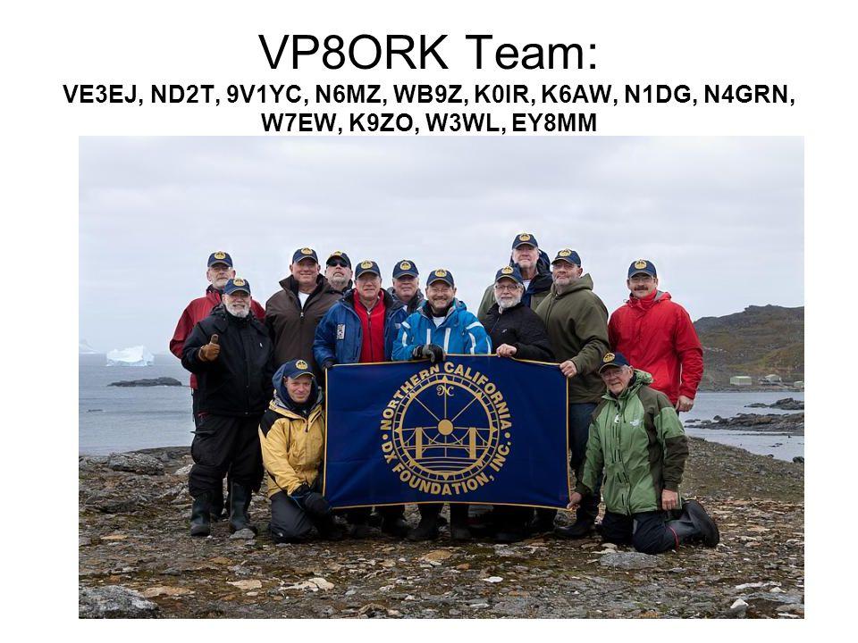 VP8ORK Team: VE3EJ, ND2T, 9V1YC, N6MZ, WB9Z, K0IR, K6AW, N1DG, N4GRN, W7EW, K9ZO, W3WL, EY8MM