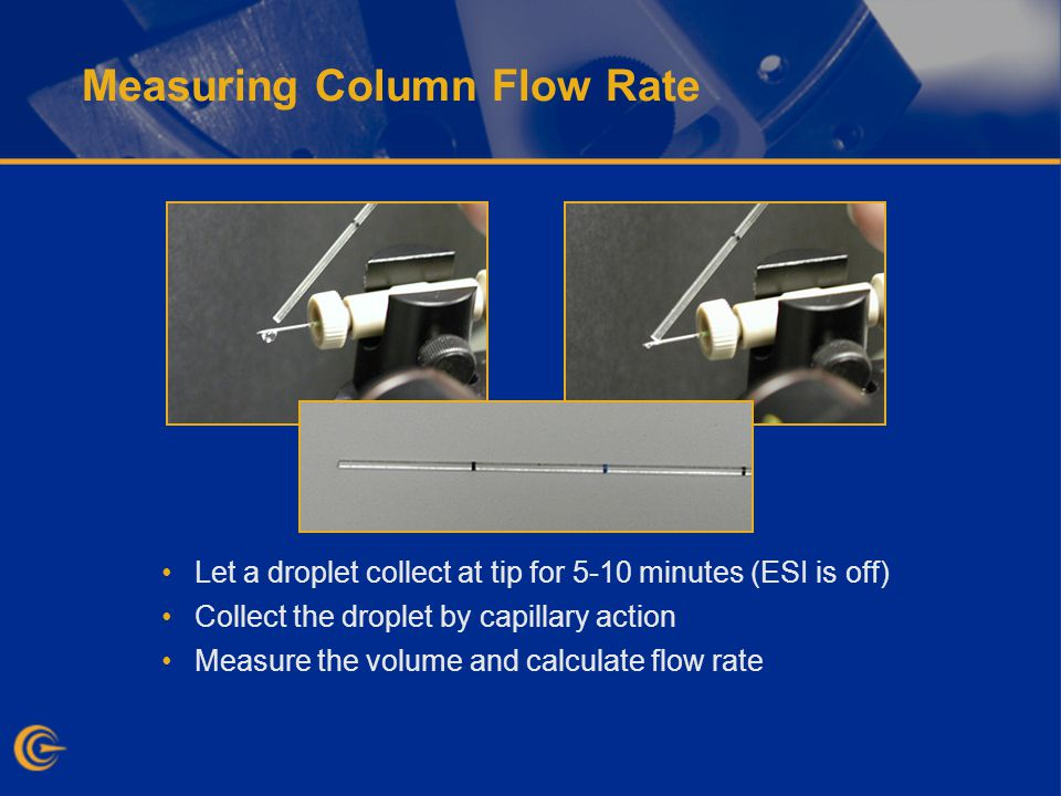 Measuring Column Flow Rate Let a droplet collect at tip for 5-10 minutes (ESI is off) Collect the droplet by capillary action Measure the volume and calculate flow rate