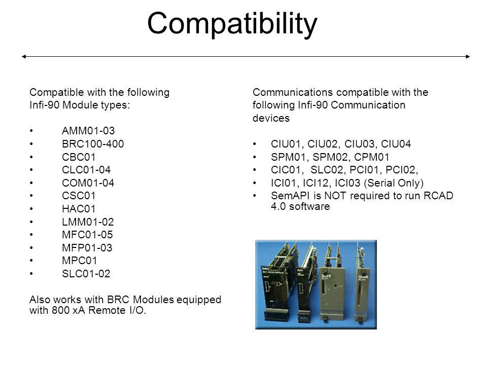 Compatibility Compatible with the following Infi-90 Module types: AMM01-03 BRC100-400 CBC01 CLC01-04 COM01-04 CSC01 HAC01 LMM01-02 MFC01-05 MFP01-03 MPC01 SLC01-02 Also works with BRC Modules equipped with 800 xA Remote I/O.