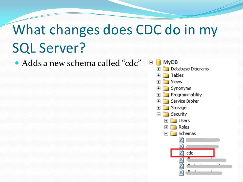 What changes does CDC do in my SQL Server Adds a new schema called cdc