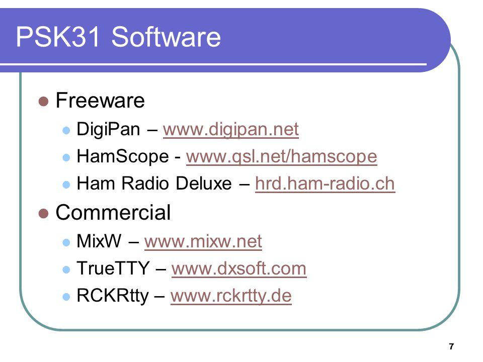 7 PSK31 Software Freeware DigiPan – www.digipan.netwww.digipan.net HamScope - www.qsl.net/hamscopewww.qsl.net/hamscope Ham Radio Deluxe – hrd.ham-radio.chhrd.ham-radio.ch Commercial MixW – www.mixw.netwww.mixw.net TrueTTY – www.dxsoft.comwww.dxsoft.com RCKRtty – www.rckrtty.dewww.rckrtty.de