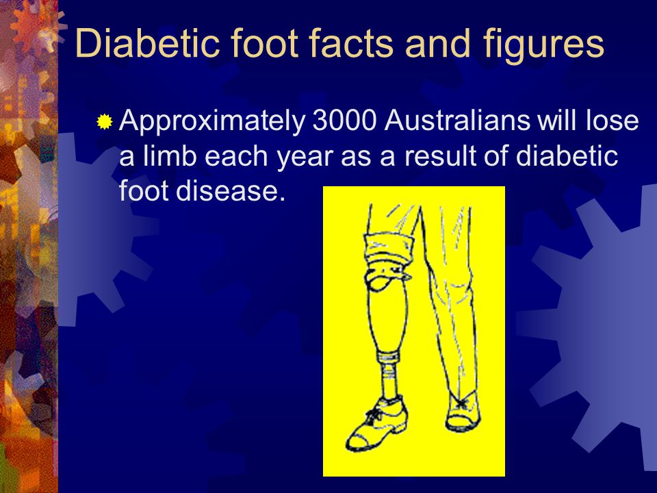 Diabetic foot facts and figures Approximately 3000 Australians will lose a limb each year as a result of diabetic foot disease.
