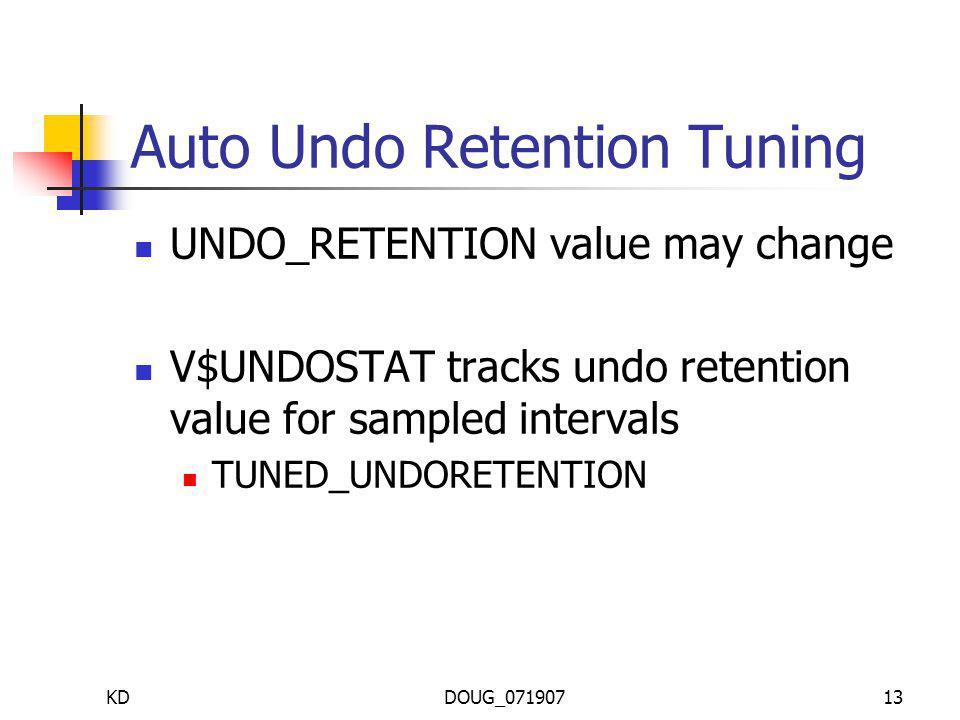 KDDOUG_07190713 Auto Undo Retention Tuning UNDO_RETENTION value may change V$UNDOSTAT tracks undo retention value for sampled intervals TUNED_UNDORETENTION