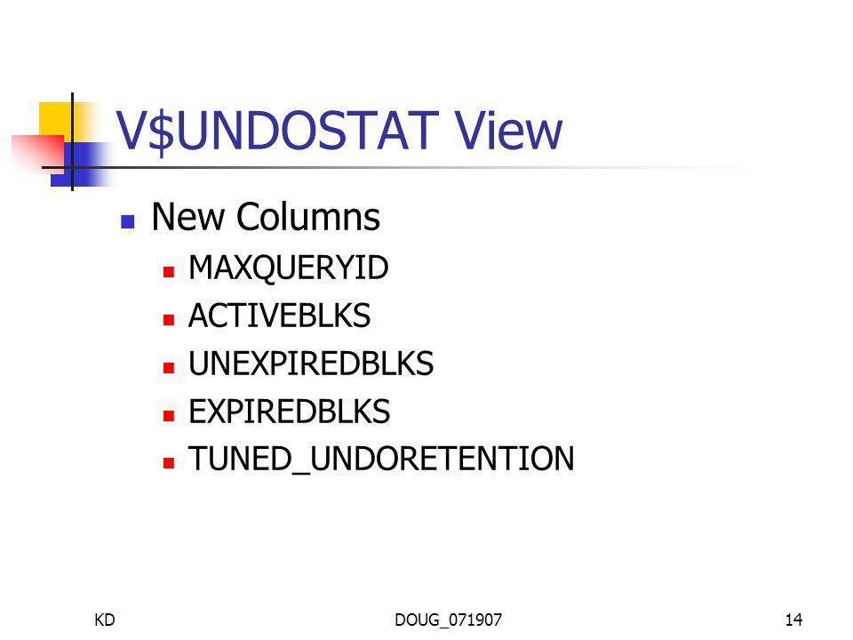 KDDOUG_07190714 V$UNDOSTAT View New Columns MAXQUERYID ACTIVEBLKS UNEXPIREDBLKS EXPIREDBLKS TUNED_UNDORETENTION
