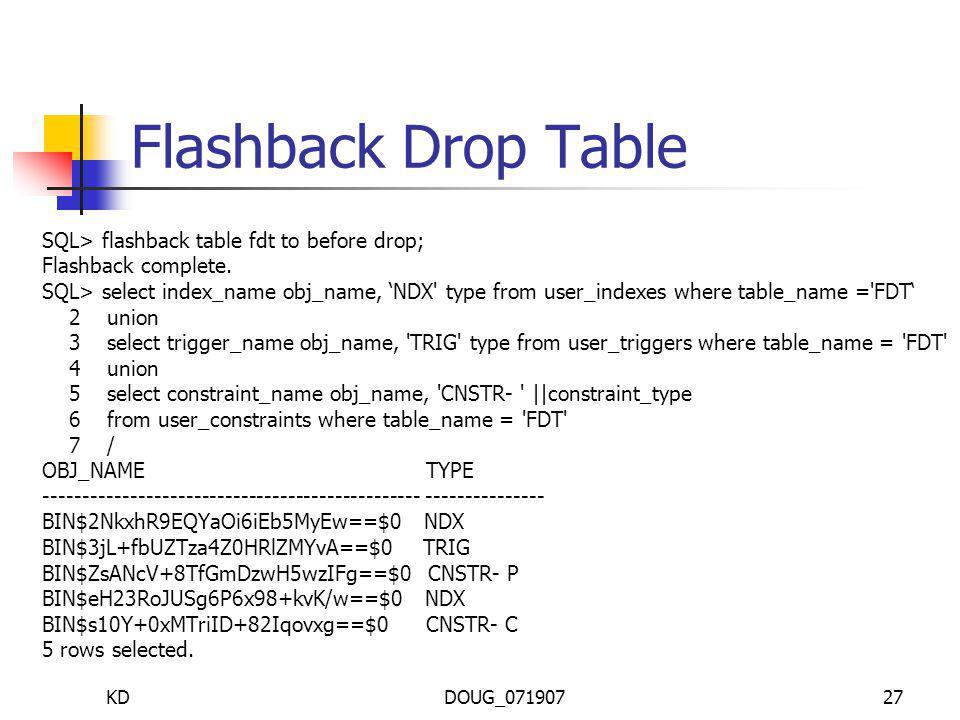 KDDOUG_07190727 Flashback Drop Table SQL> flashback table fdt to before drop; Flashback complete.