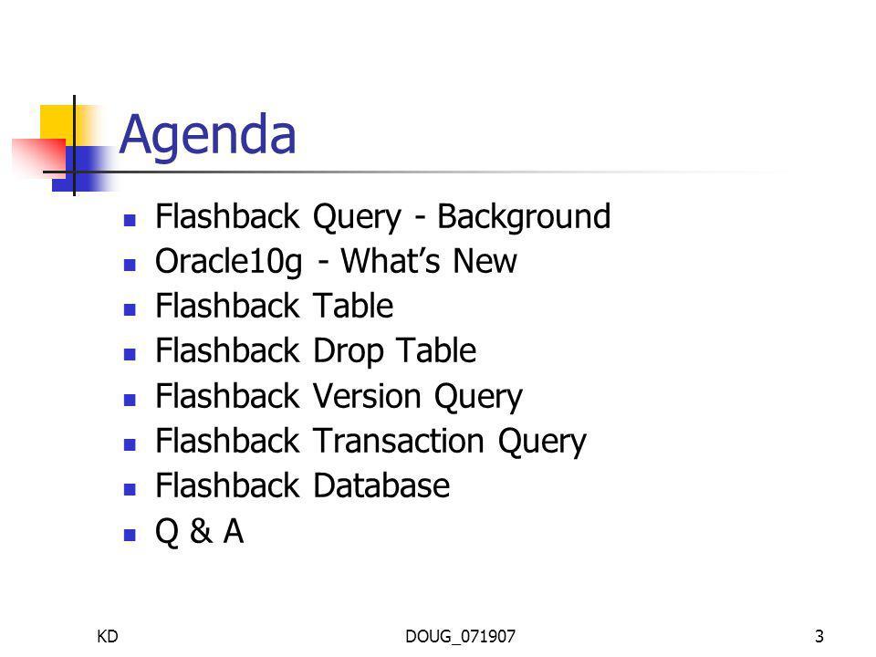 KDDOUG_0719073 Agenda Flashback Query - Background Oracle10g - Whats New Flashback Table Flashback Drop Table Flashback Version Query Flashback Transaction Query Flashback Database Q & A
