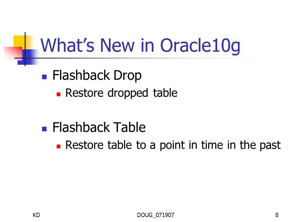 KDDOUG_0719078 Whats New in Oracle10g Flashback Drop Restore dropped table Flashback Table Restore table to a point in time in the past