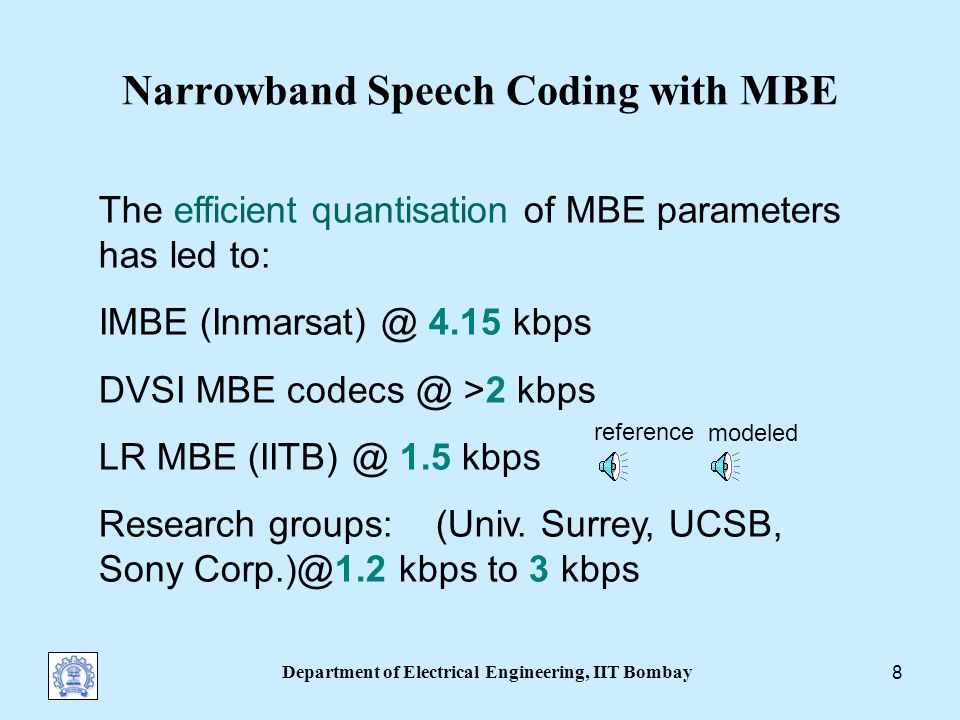 Department of Electrical Engineering, IIT Bombay 18 Fujimura-type Experiment Highly jittered vowel / ɑ / Reference MBE (note unfused noise) MBE-modeled with forced decisions