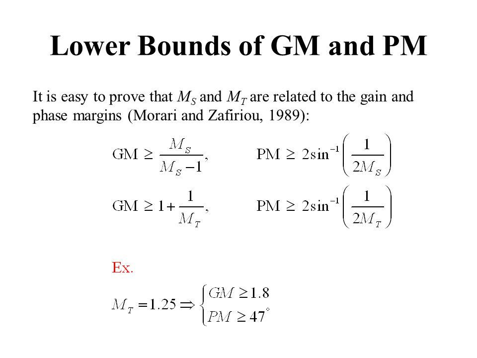 It is easy to prove that M S and M T are related to the gain and phase margins (Morari and Zafiriou, 1989): Lower Bounds of GM and PM