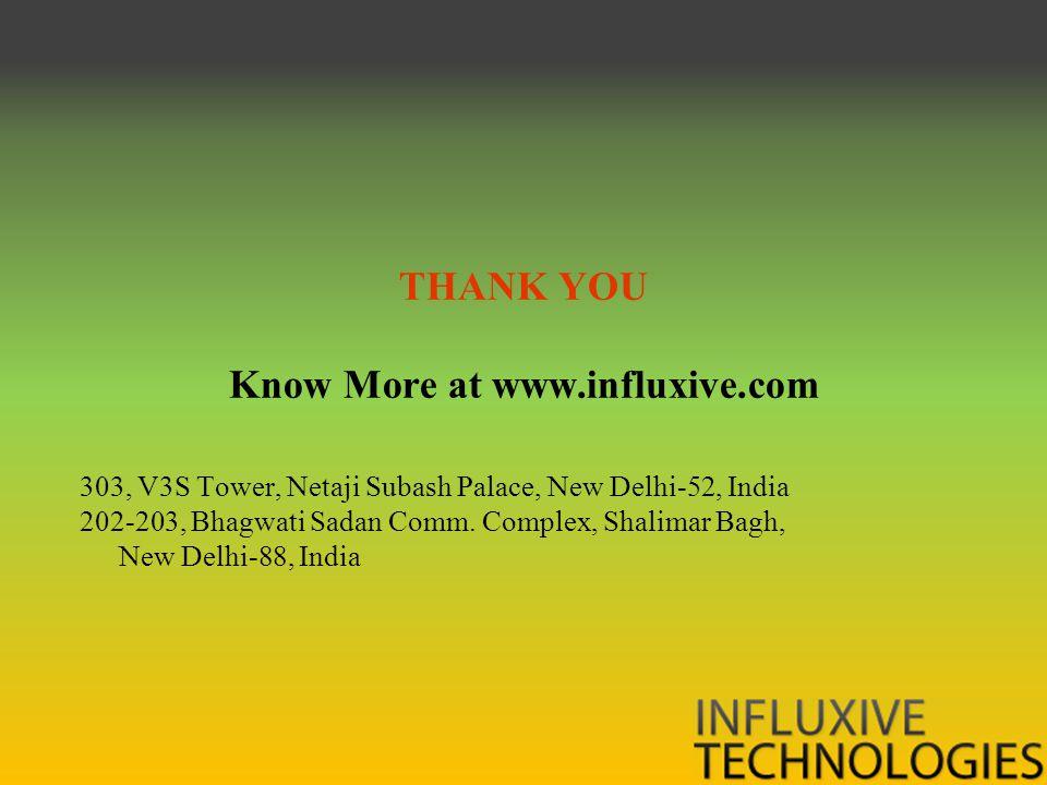 THANK YOU Know More at www.influxive.com 303, V3S Tower, Netaji Subash Palace, New Delhi-52, India 202-203, Bhagwati Sadan Comm.