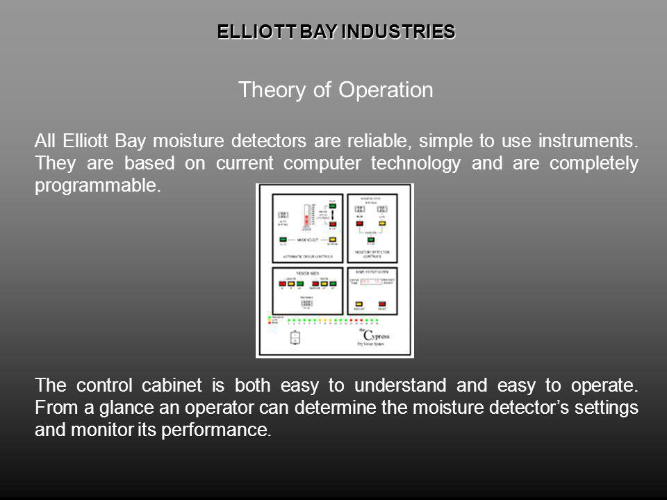 ELLIOTT BAY INDUSTRIES ELLIOTT BAY INDUSTRIES Theory of Operation All Elliott Bay moisture detectors are reliable, simple to use instruments.