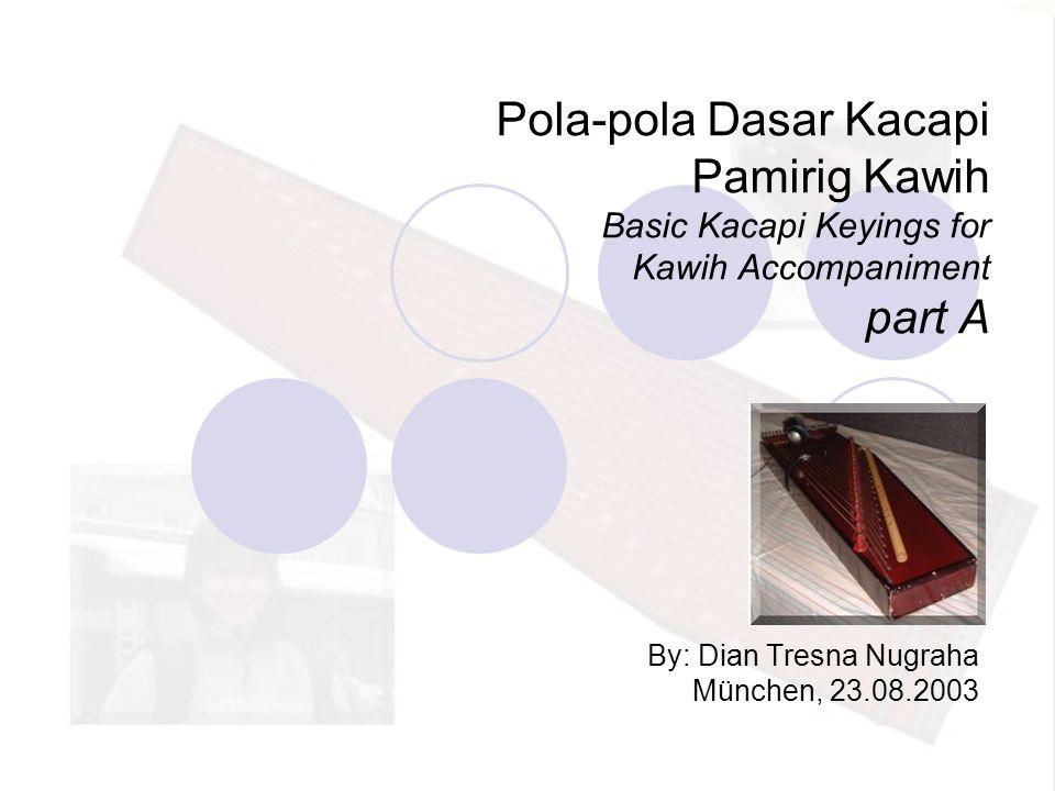 Pola-pola Dasar Kacapi Pamirig Kawih Basic Kacapi Keyings for Kawih Accompaniment part A By: Dian Tresna Nugraha München, 23.08.2003
