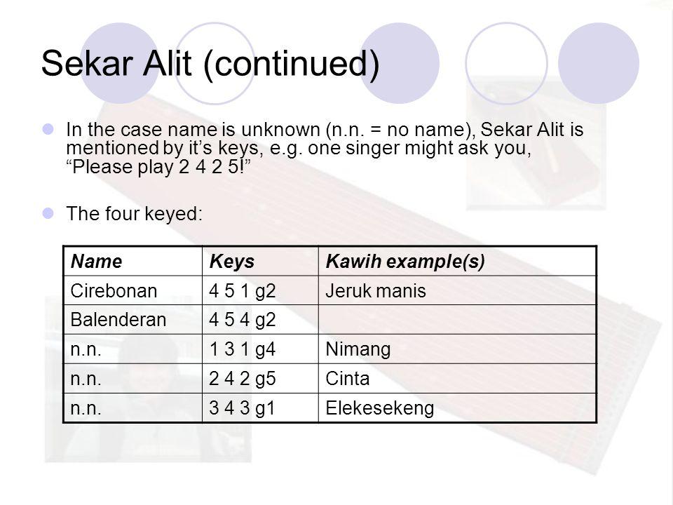 Sekar Alit (continued) NameKeysKawih example(s) Cirebonan4 5 1 g2Jeruk manis Balenderan4 5 4 g2 n.n.1 3 1 g4Nimang n.n.2 4 2 g5Cinta n.n.3 4 3 g1Eleke