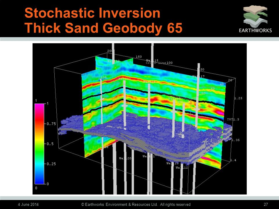 4 June 2014© Earthworks Environment & Resources Ltd. All rights reserved27 Stochastic Inversion Thick Sand Geobody 65