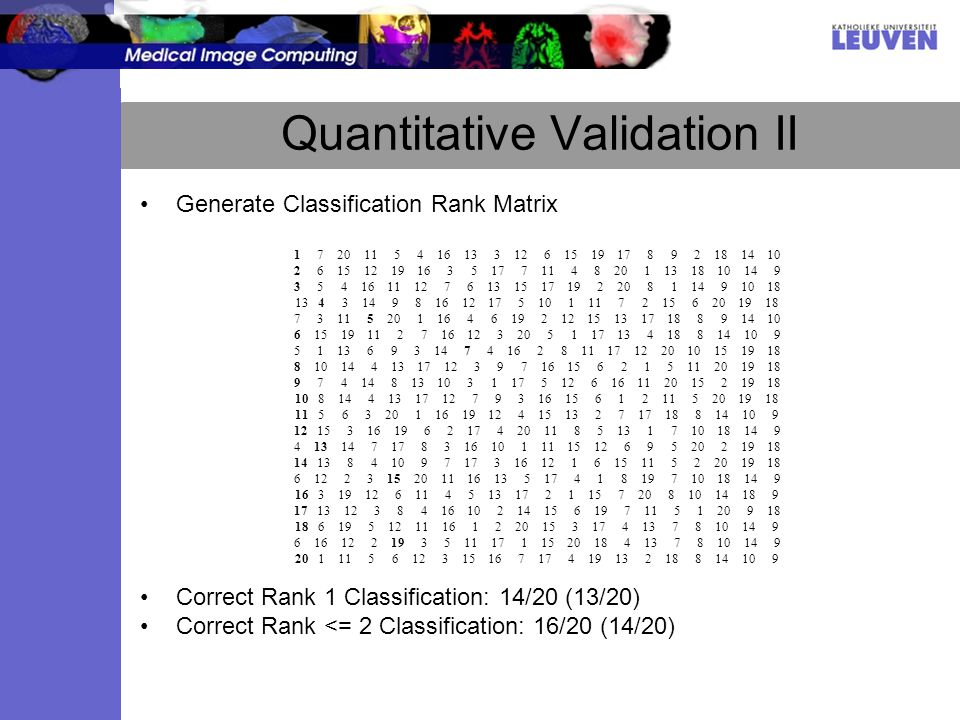 Quantitative Validation II Generate Classification Rank Matrix Correct Rank 1 Classification: 14/20 (13/20) Correct Rank <= 2 Classification: 16/20 (14/20)