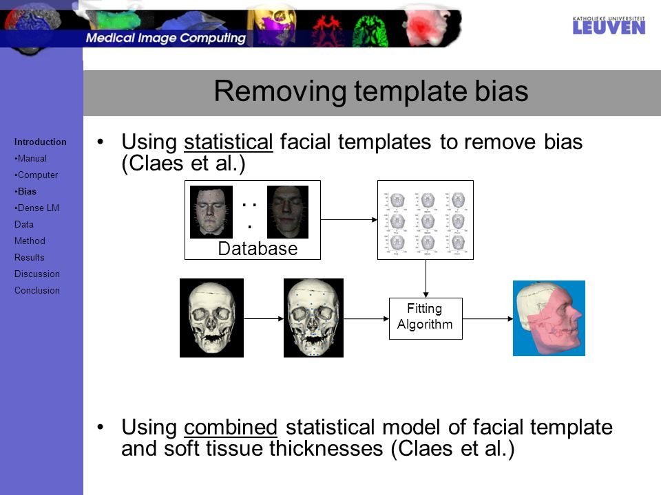 Removing template bias Using statistical facial templates to remove bias (Claes et al.) Using combined statistical model of facial template and soft tissue thicknesses (Claes et al.) Fitting Algorithm...