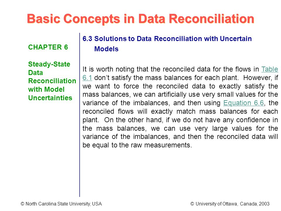 Basic Concepts in Data Reconciliation © North Carolina State University, USA © University of Ottawa, Canada, 2003 CHAPTER 6 Steady-State Data Reconciliation with Model Uncertainties 6.3 Solutions to Data Reconciliation with Uncertain Models It is worth noting that the reconciled data for the flows in Table 6.1 dont satisfy the mass balances for each plant.