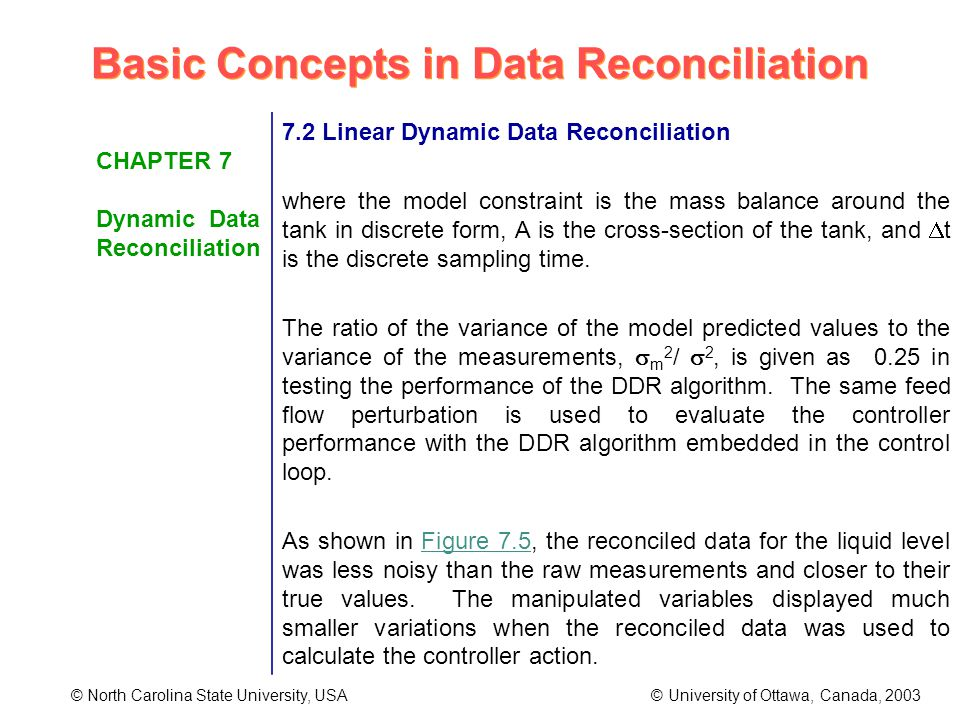 Basic Concepts in Data Reconciliation © North Carolina State University, USA © University of Ottawa, Canada, 2003 CHAPTER 7 Dynamic Data Reconciliation 7.2 Linear Dynamic Data Reconciliation where the model constraint is the mass balance around the tank in discrete form, A is the cross-section of the tank, and t is the discrete sampling time.