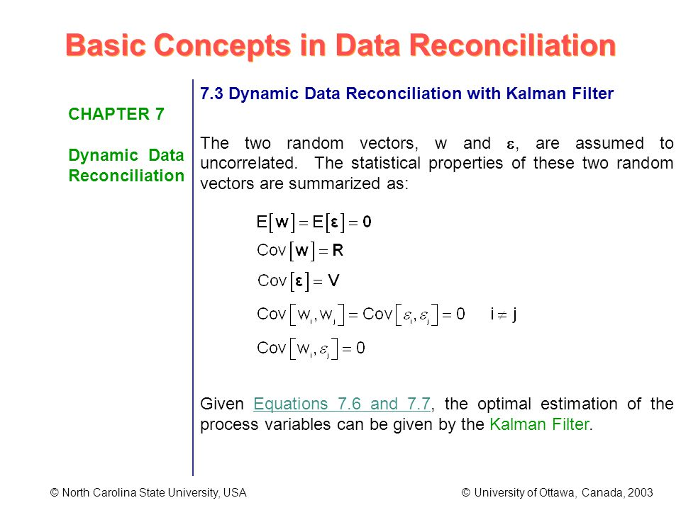 Basic Concepts in Data Reconciliation © North Carolina State University, USA © University of Ottawa, Canada, 2003 CHAPTER 7 Dynamic Data Reconciliation 7.3 Dynamic Data Reconciliation with Kalman Filter The two random vectors, w and, are assumed to uncorrelated.
