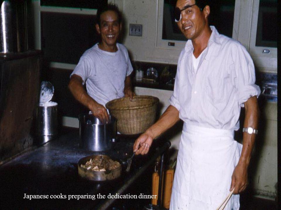 Japanese cooks preparing the dedication dinner