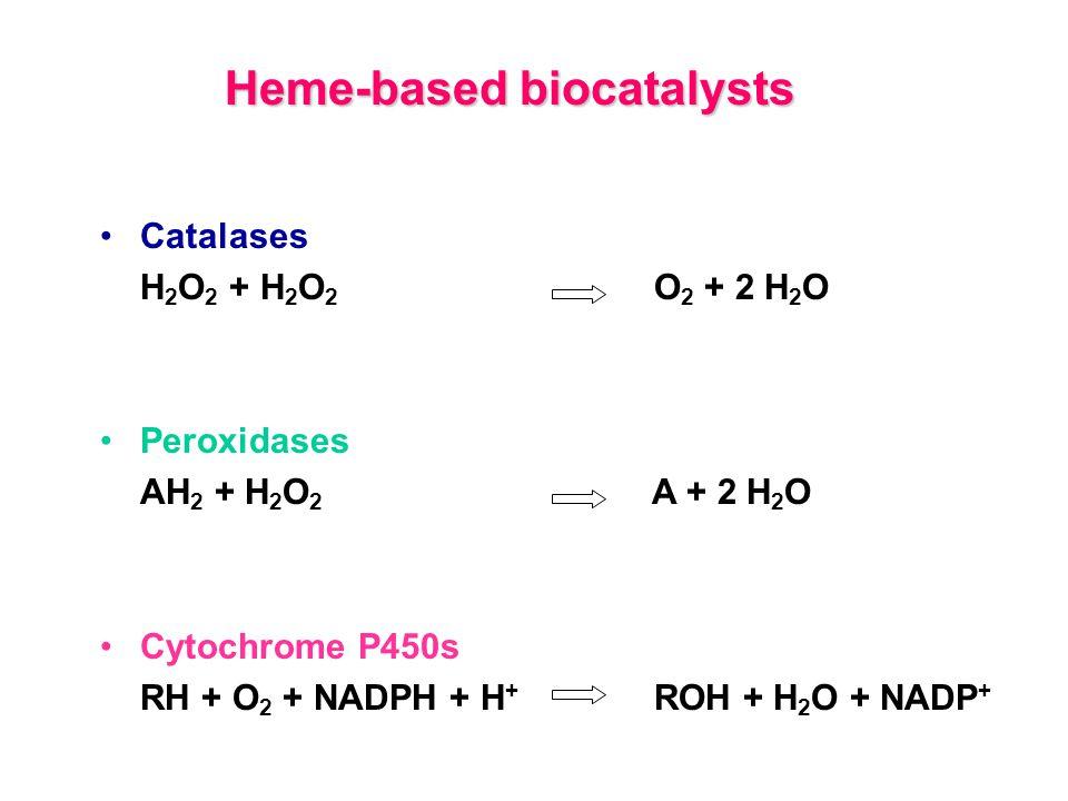 Catalases H 2 O 2 + H 2 O 2 O 2 + 2 H 2 O Peroxidases AH 2 + H 2 O 2 A + 2 H 2 O Cytochrome P450s RH + O 2 + NADPH + H + ROH + H 2 O + NADP + Heme-based biocatalysts