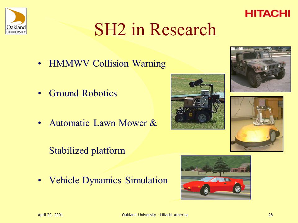 April 20, 2001Oakland University - Hitachi America27 Accomplishments –Learn basics of engine control –Learn modeling and simulation of engine control via SimCar –Learn software development & experimental setup for rapid prototyping of real-time engine using SH2 micro (hardware in the loop) Problems Encountered –Steep learning curve (especially in the beginning).
