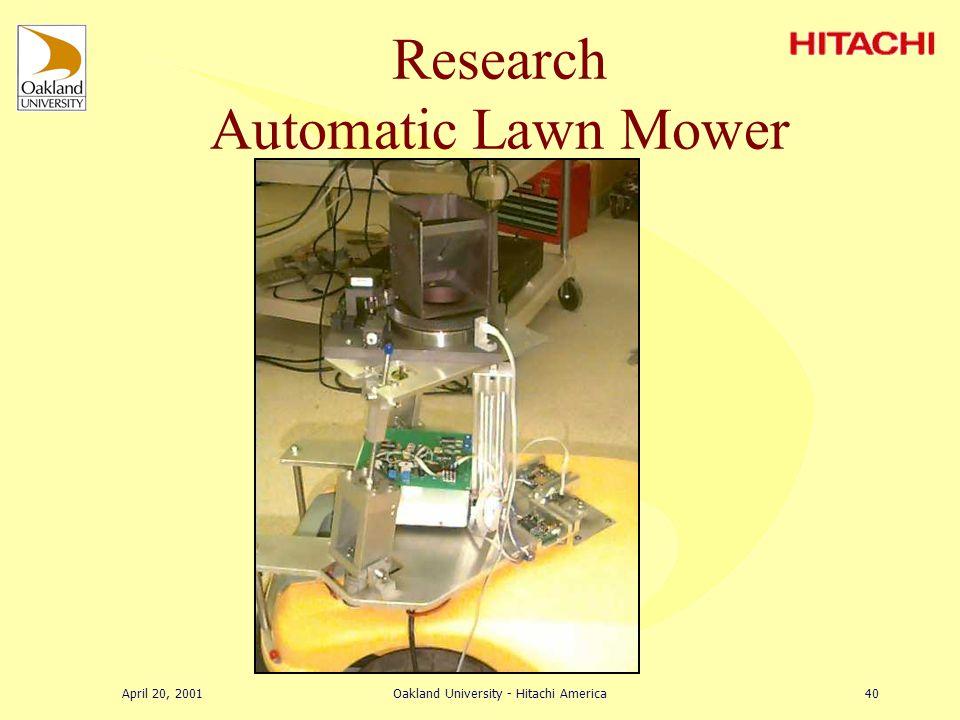 April 20, 2001Oakland University - Hitachi America39 Research Stabilizing Platform