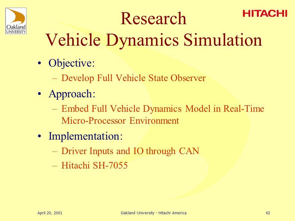 April 20, 2001Oakland University - Hitachi America41 Research Automatic Lawn Mower