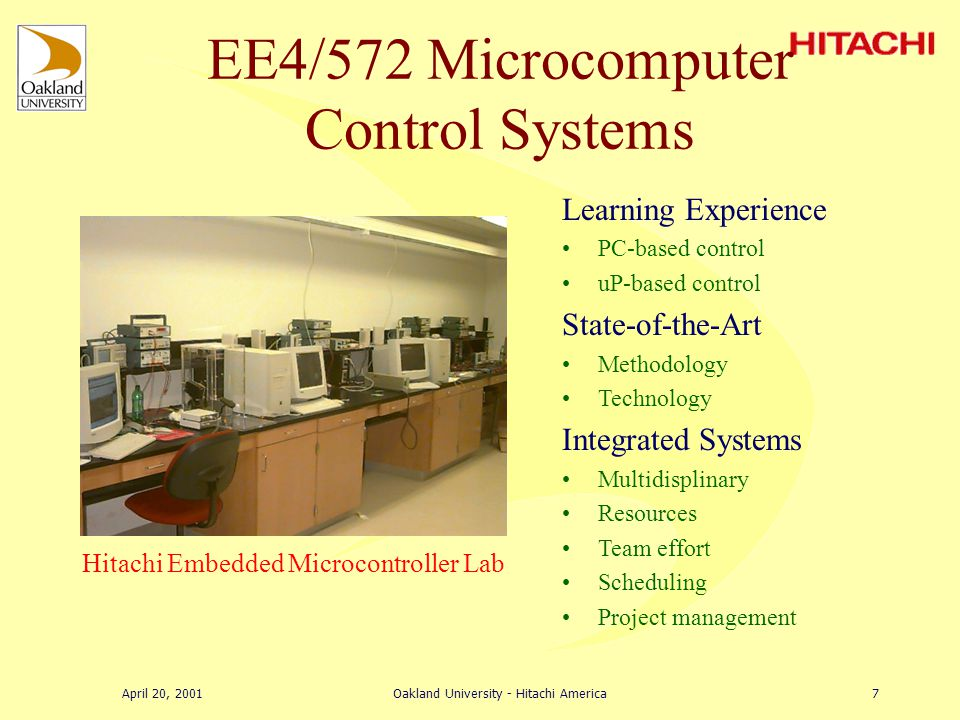 April 20, 2001Oakland University - Hitachi America6 Mechatronics Lab CAE Tools Simulation Data acquisition Analysis Design Computer methods Projects
