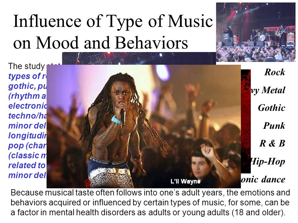 Influence of Type of Music on Mood and Behaviors The study states: early fans of different types of rock (eg, rock, heavy metal, gothic, punk), Africa