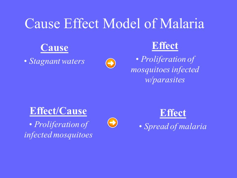 Cause Effect Model of Malaria Effect Spread of malaria Effect Proliferation of mosquitoes infected w/parasites Cause Stagnant waters Effect/Cause Prol