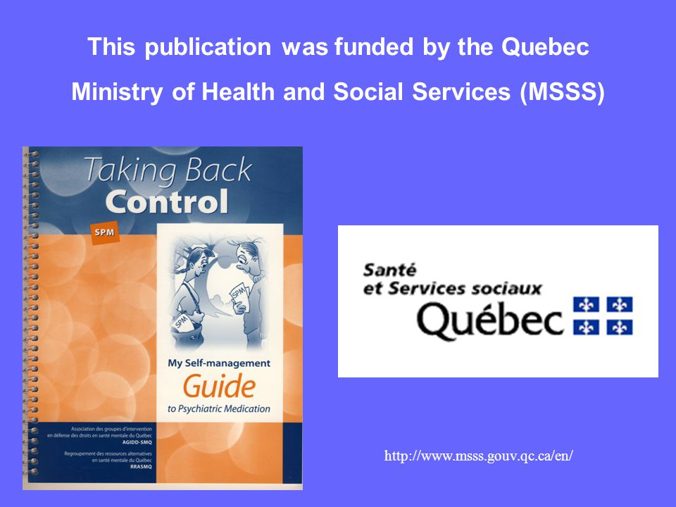 This publication was funded by the Quebec Ministry of Health and Social Services (MSSS) http://www.msss.gouv.qc.ca/en/