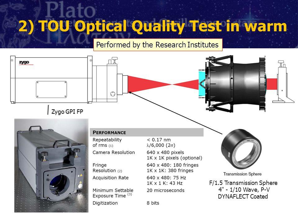 2) TOU Optical Quality Test in warm Zygo GPI FP F/1.5 Transmission Sphere 4