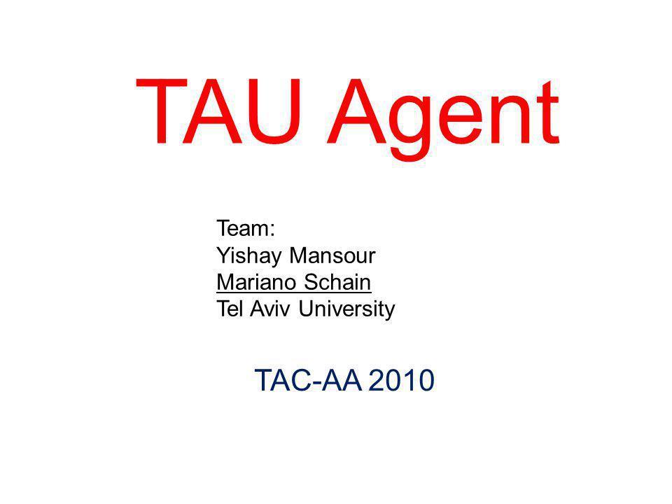 TAU Agent Team: Yishay Mansour Mariano Schain Tel Aviv University TAC-AA 2010