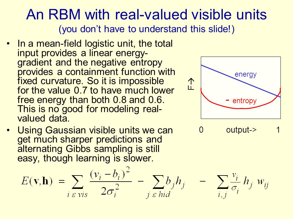An RBM with real-valued visible units (you dont have to understand this slide!) In a mean-field logistic unit, the total input provides a linear energ
