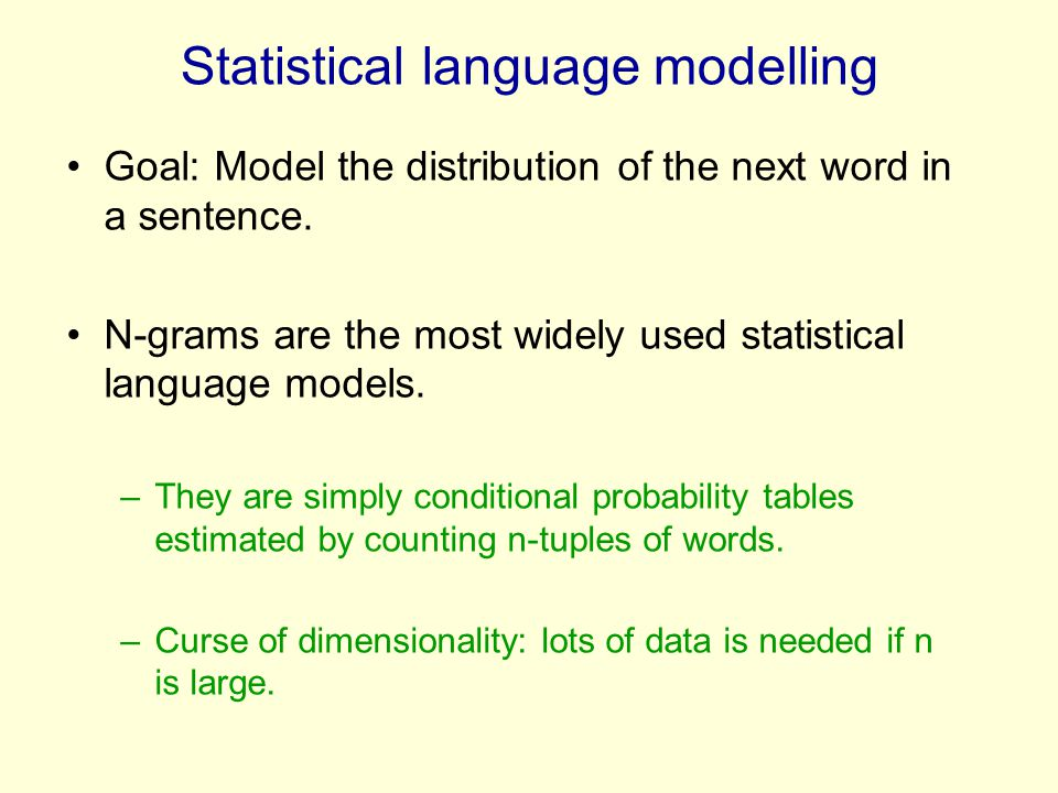 Statistical language modelling Goal: Model the distribution of the next word in a sentence. N-grams are the most widely used statistical language mode