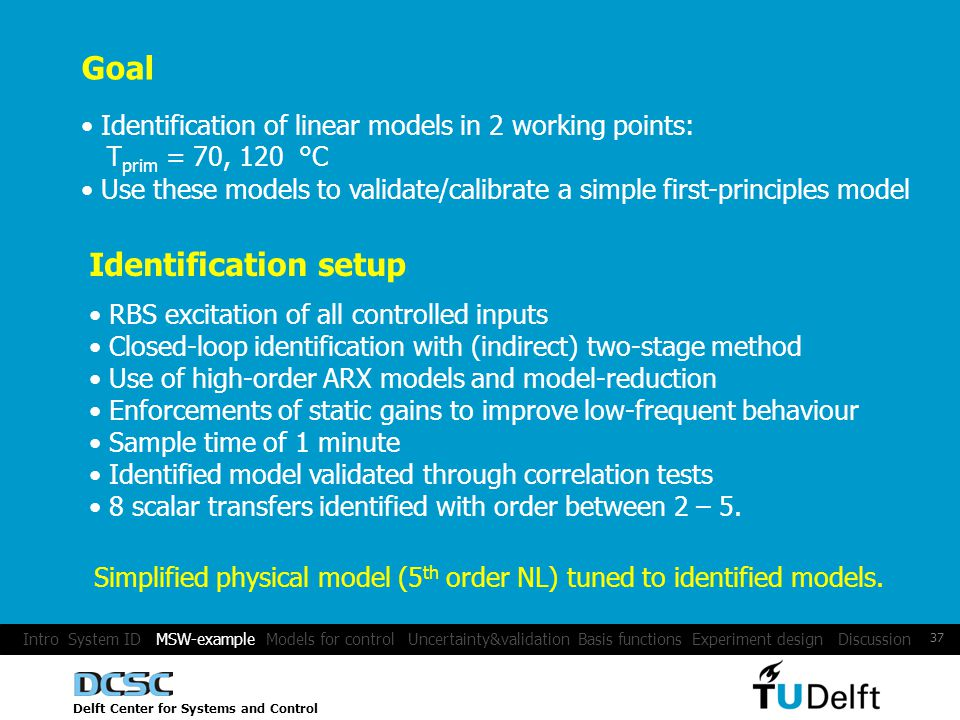Delft Center for Systems and Control 37 Goal Identification of linear models in 2 working points: T prim = 70, 120 °C Use these models to validate/calibrate a simple first-principles model Identification setup RBS excitation of all controlled inputs Closed-loop identification with (indirect) two-stage method Use of high-order ARX models and model-reduction Enforcements of static gains to improve low-frequent behaviour Sample time of 1 minute Identified model validated through correlation tests 8 scalar transfers identified with order between 2 – 5.