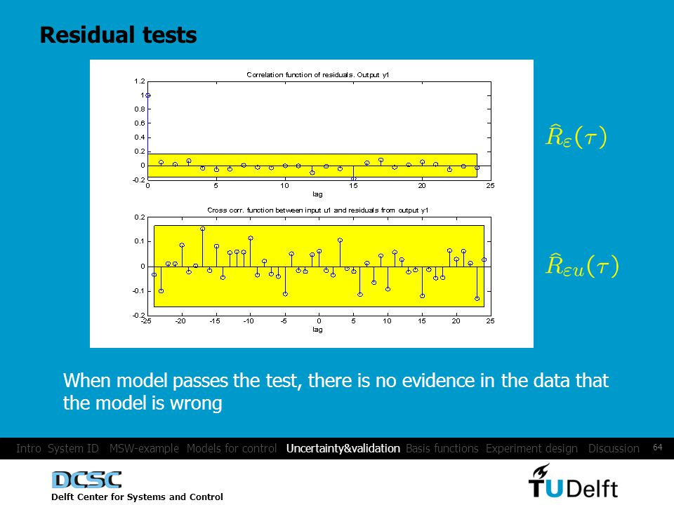 Delft Center for Systems and Control 64 Residual tests When model passes the test, there is no evidence in the data that the model is wrong Intro System ID MSW-example Models for control Uncertainty&validation Basis functions Experiment design Discussion