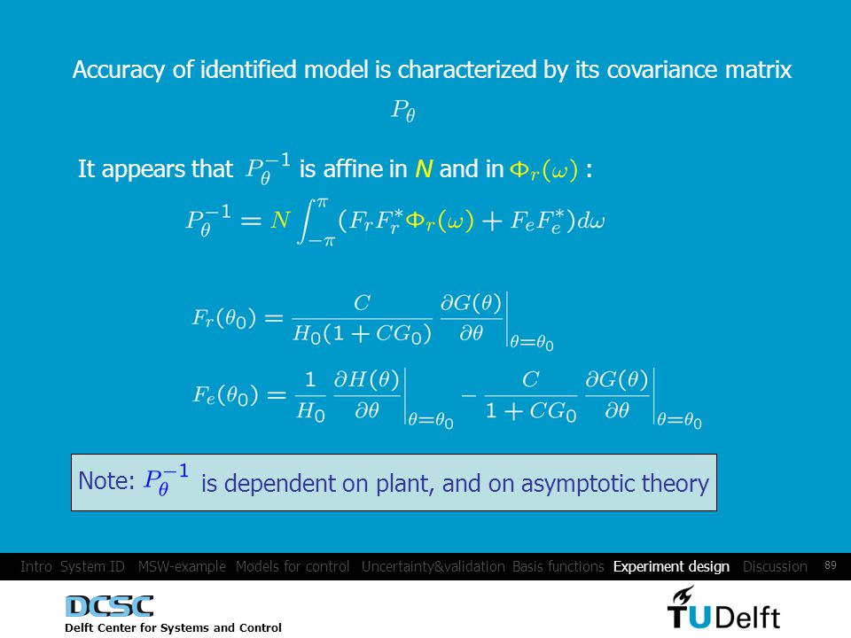 Delft Center for Systems and Control 89 Accuracy of identified model is characterized by its covariance matrix It appears that is affine in N and in : Note: is dependent on plant, and on asymptotic theory Intro System ID MSW-example Models for control Uncertainty&validation Basis functions Experiment design Discussion