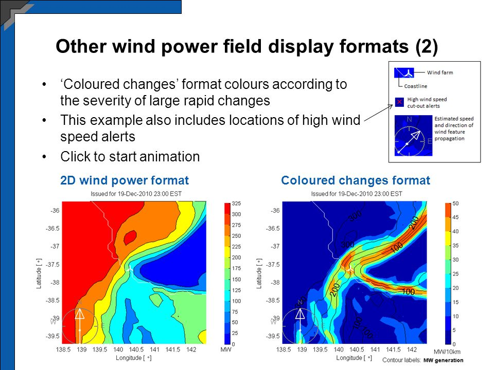Other wind power field display formats (2) Coloured changes format colours according to the severity of large rapid changes This example also includes locations of high wind speed alerts Click to start animation Coloured changes format2D wind power format