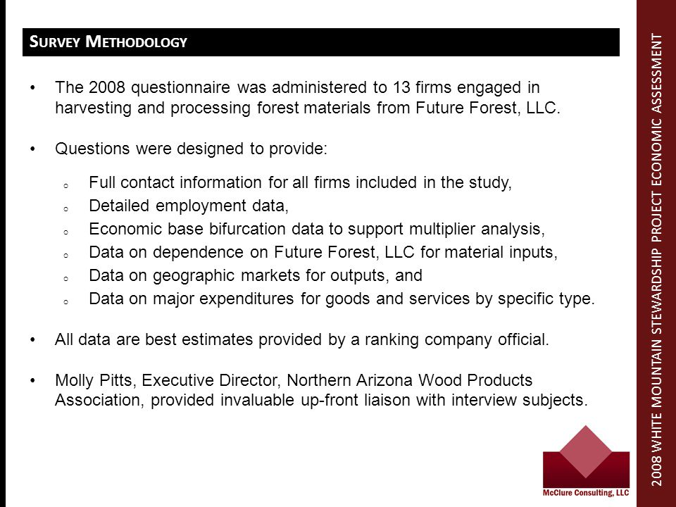 S URVEY M ETHODOLOGY The 2008 questionnaire was administered to 13 firms engaged in harvesting and processing forest materials from Future Forest, LLC.